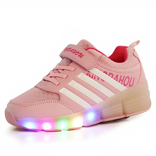 Good-time Kinder Junge Mädchen Led Schuhe Sneaker Mit Rollen 7 Farbe Farbwechsel Wheels Skate Schuhe(Pink,33 EU)