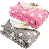 BRANDONN Wool Single Blanket, Pink, Grey, Pack of 2