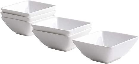UIBFCWN Square Porcelain Ramekins, mini Square Appetizer Bowls, Dessert Bowls/condiment bowls/Ceramic Dip Bowls/Custard Dish/ Pudding cups/ souffle dishes 6 oz, White, Set of 6