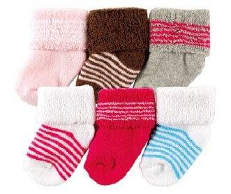 Luvable Friends 20615R Baby Socken 6er Set uni & gestreift Größe: 0-3 Monate