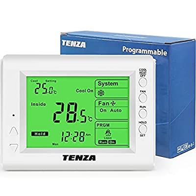 CML Digital 5+2 Day Programmable Thermostat with Large Backlit Display, Single Stage for Heat/Cool, HVAC Furnace, Heat Pump, Air Conditioning, 24V Line Voltage or Battery, White