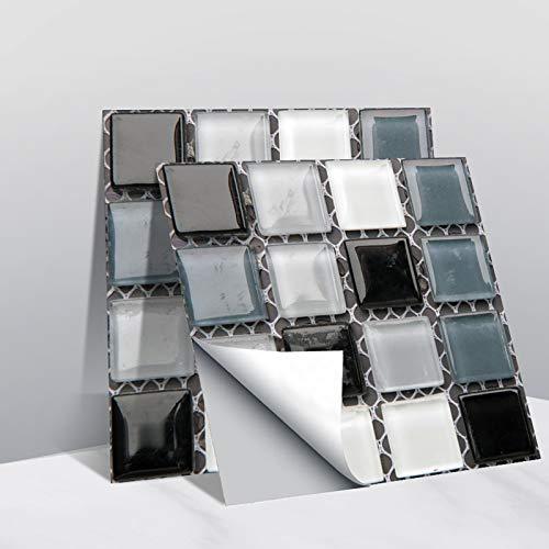 Leileixiao 10 pegatinas de pared de azulejos de cristal 3D, calcomanías de mosaico, impermeables, autoadhesivas, para cocina, baño, decoración del hogar (color: 10 unidades)
