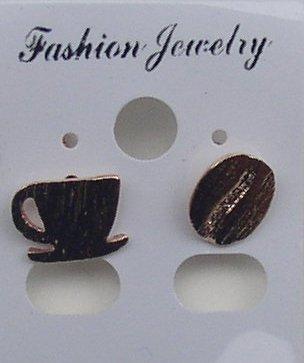 Deko Store Ohrringe Barista Rosegold Kaffeebohne und Kaffeetasse im Set Modeschmuck