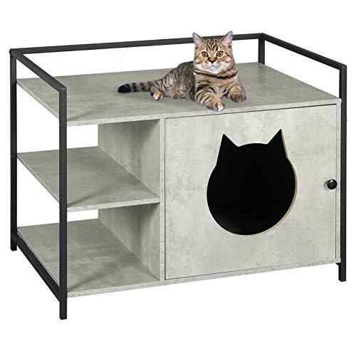 MSMASK Katzentoilette mit Regal und Tür, Katzenhöhle Entlüftung, eräumiger Katzenschrank Katzenhaus Schlafhaus für große und kleine Katzen, stabile, Beistelltisch, Nachtschrank (stylish)