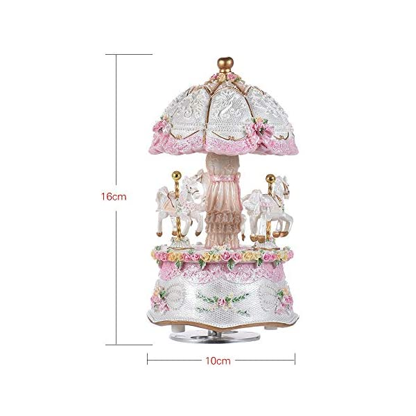 Music Box Carousel Color Change LED Luminous Light 3-Horse Rotating Windup Musical Gift Melody Castle in The Sky Artware… 9