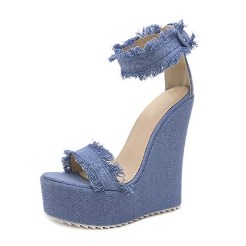 MKXF Estilo Discoteca Sandalias de tacón de cuña de Mezclilla Mujeres del talón de los Zapatos súper Altos,Azul,37
