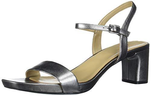 Naturalizer womens Ivy Ankle Strap Heeled Sandal, Grey, 8 Wide US