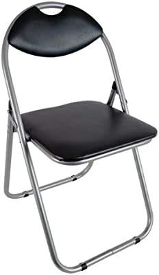 Folding Office Chair, Black Faux Leather Padded Dining Seat