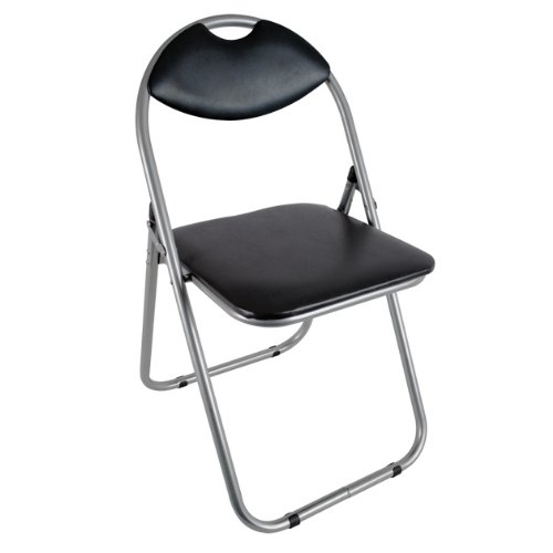 Anika Home 60050 Paris Faux Leather Padded Folding Chair Home Office Dining, 40x40x79cm, Black