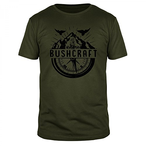 FABTEE - Bushcraft Kompass Wandern - Fun Organic T-Shirt Herren, Größen S-3XL, Größe:M, Farbe:Oliv