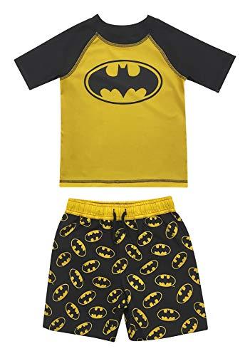 Toddler Boy Batman Two Piece Rash Guard Rashguard Swim Shirt and Trunk Set 4T