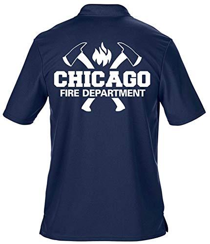 Polo fonctionnel Navy Chicago Fire Dept avec branches et emblème standard 3XL bleu marine