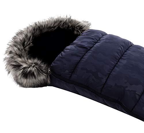 Vizaro - Saco Térmico de Invierno para Carrito o Silla de Paseo Bebé - Abriga y no suda - Gama Alta Premium - Color azul con Forrito Pelusa Gris - H