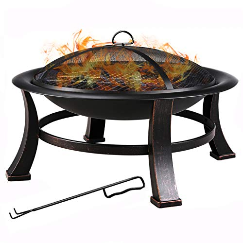 femor 30-Inch Fire Bowl Backyard Fire Pit with Mesh Screen Cover, BBQ Grill, Log Grate, Firepit Poker, Waterproof Cover, Wood Burning Stove for Camping, Bonfire, Patio, Park, Garden