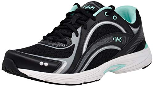 Ryka Women's Sky Walk Walking Shoe, Black/Aqua, 8.5 M US