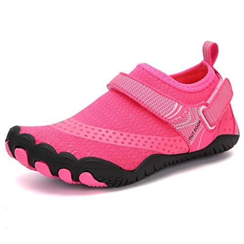 Parcclle Zapatos de agua para niños, zapatos de playa, zapatos descalzos, zapatos de secado rápido, antideslizantes, zapatos de surf para niños, niñas, piscina, buceo, navegación, EU36