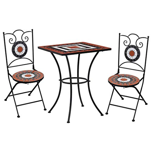 Tidyard 3 Piece Mosaic Bistro Set | Ceramic Tile Design Table and Folding Chairs | Garden Bar Table Set Terracotta and White