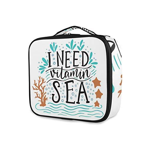 SUGARHE Necesito una Cita inspiradora vitaminas del mar Dibujado a Mano con Olas Coral Burbujas Estrellas mar,Neceser Maquillaje,Bolsa Cosméticos Organizador Brochas Maquillaje Estuches Portátil