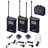 COMICA CVM-WM100 PLUS Rechargeable Wireless Microphone UHF 48-Channels with Dual-Transmitter and One Receiver