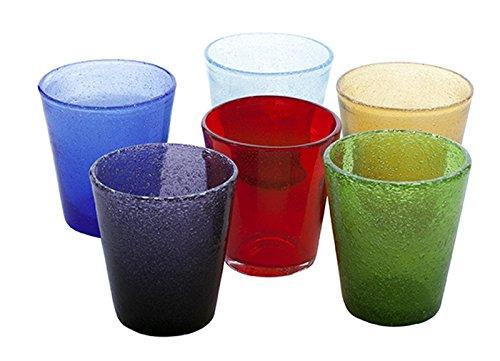 Kaleidos - Set 6 bicchieri Tumbler in vetro soffiato a bocca SURF MULTICOLOR