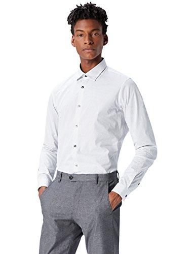 T-Shirts T-Shirts Herren Schmales Smokinghemd mit Mikro-Print, Weiß (White 100), 42 cm, Label: XL