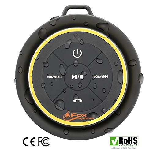 iFox iF012 Bluetooth Shower Speaker  Certified Waterproof  Wireless It Pairs Easily to All Your Bluetooth Devices  Phones Tablets Computer Radio
