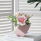 GaoTuo decorazione di fiori artificiali piante in vaso, fiori finti con vasi da fiori geometrici tridimensionali, Per la casa moderna office, hotel, libreria(Rosa,)