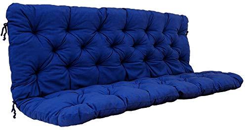 Ambientehome Auflagen 3er Bankkissen Bankauflage Polsterkissen 150x98x8 cm blau