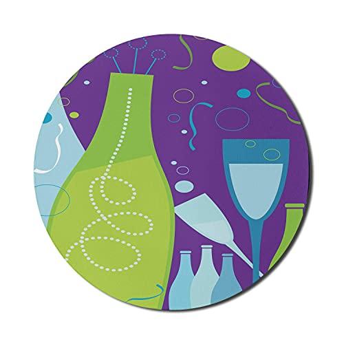 Champagner-Mauspad für Computer, nächtliche Feier der Festlichkeitselemente im Himmel jubelt Toast, rundes, rutschfestes, dickes, modernes Gaming-Mousepad aus dickem Gummi, 8 'rund, hellgrün und Quarz