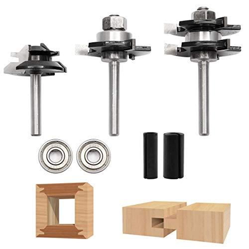 Anladia 7-tlg Fräser Set Oberfräser Werkzeug Set Kugellagern & Fräser Adapterhülse für Holzbearbeitung