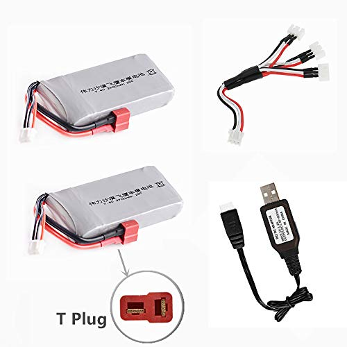 Upgrade 7.4V 2700mAh Li-Po Battery for WLTOYS 12428 RC Car 1/12 Li-Po Battery RC Battery 2 Pack with USB Charging Cable