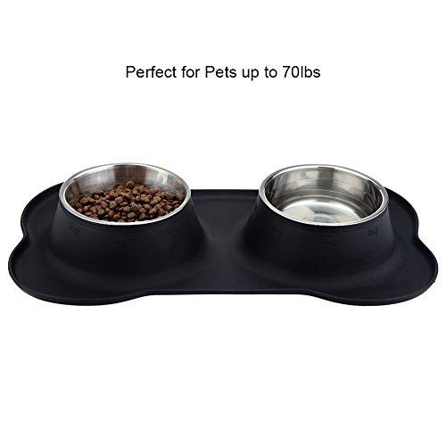 URPOWER 2 Stück 770ml Edelstahl Fressnapf für Hunde und Katze Edelstahl mit Kein Überlauf Rutschfester Silikonmatte 53 oz Doppel Schüssel für Hundefutter und Wasser - 3
