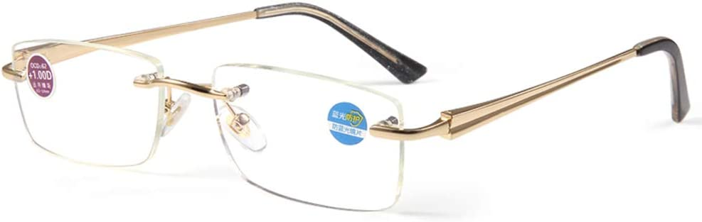 Gafas de Lectura Anti-Azul Hombre, Gafas de Moda sin Marco, Anti-Radiación Protección Ocular HD Ultra-Light Old Glasses Sin Marco HD Gafas antifatiga (Color: Oro)