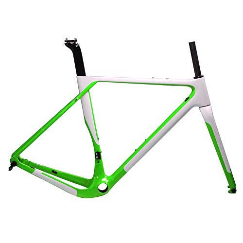 T1000 Carbon-Kies-Bike Carbon Rahmen Cyclocross Fahrradrahmen BB386 Scheibenbremse Rennrad Rahmenset Max Reifen 700 * 40C,Grün,59cm UD Glossy