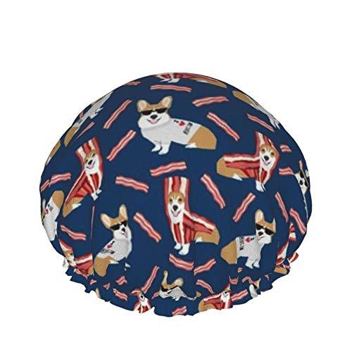 Corgi Loves Bacon Dog In Bacon Disfraz Gorro de ducha para perros Gorro de bao elstico impermeable para mujeres Ducha Spa Salon