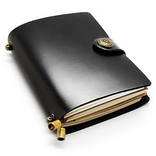 CONE Retro Travel Leather Diary Notebook 5.5x4.3x1.2 inch, Black, Pack of 1