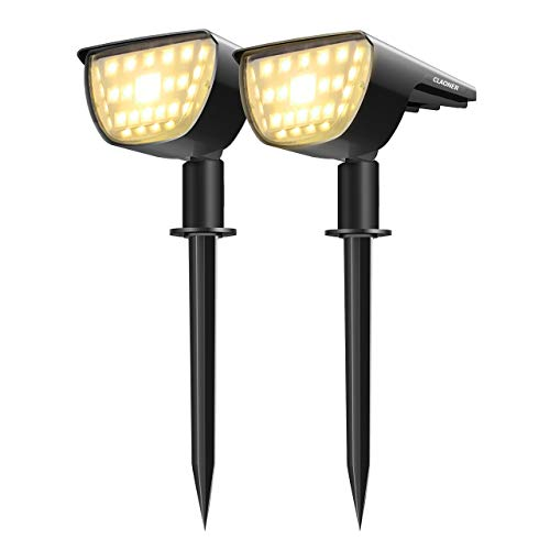 Claoner 32 LED Solar Landscape Spotlights, Wireless Waterproof Solar Landscaping Spotlights Outdoor Solar Powered Wall Lights for Yard Garden Driveway Porch Walkway Pool Patio- Warm White(2 Pack)