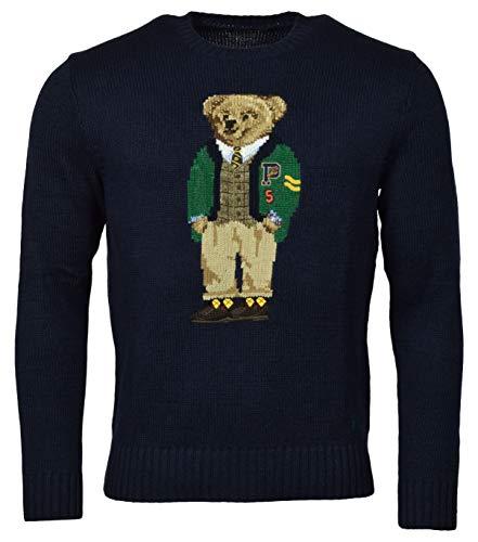 Polo Ralph Lauren Men's Bear Pullover Sweater, Blue (L)