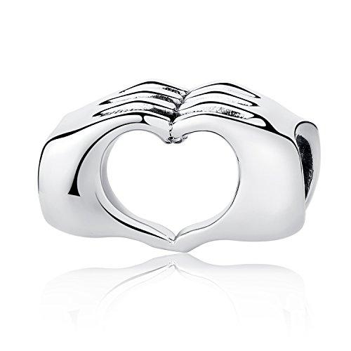 Plata de Ley con Corazón en las manos charms Beads dedos con corazón colgantes ajuste cadena de serpiente pulseras