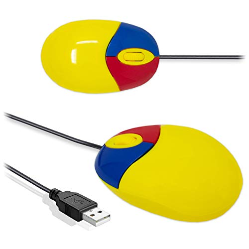I-CHOOSE LIMITED Piccolo Mouse USB per PC/Cablato Colorato per Computer e Laptop/Adatto per L'Apprendimento Educativo di Bambini/Ragazzi / 3-Button/Giallo