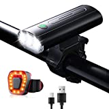 Bike Lights, MCAMO Front Light USB Rechargeable Bicycle Light 800 Lumens 3000mAh, 6 Light Modes LED Bike Lights Front and Back, IPX5 Waterproof Headlight & Taillight for Night Riding, Road, and MTB