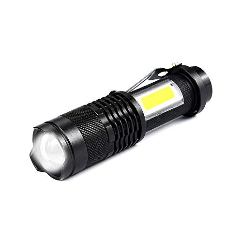 JuneJour 6000K Taschenlampe Tragbare Q5 Tragbare COB LED 4 Modi Mini Taschenlampe 350 Lumen Zoombar Taschenlampen Outdoor