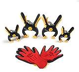 Set di 2 pinzette piccole e 2 grandi pinze di sostegno, a cricchetto + guanti con funzione di potere regolare e alta resistenza di serraggio, 5, colore: giallo