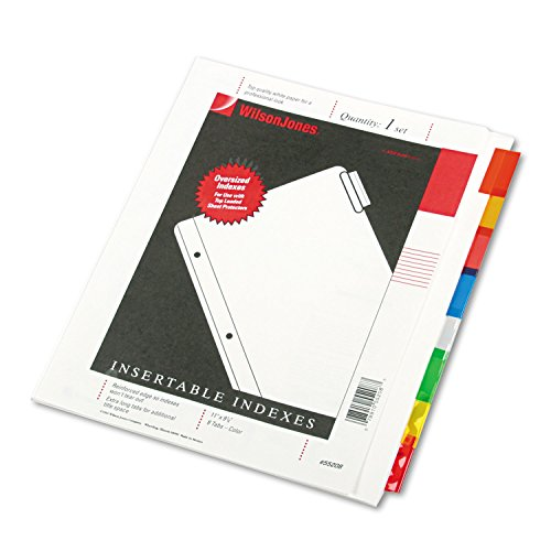 ACCO Brands Wilson Jones Oversized Insertable Dividers, 8-Tab Set, Multicolor Tabs (W55208A)