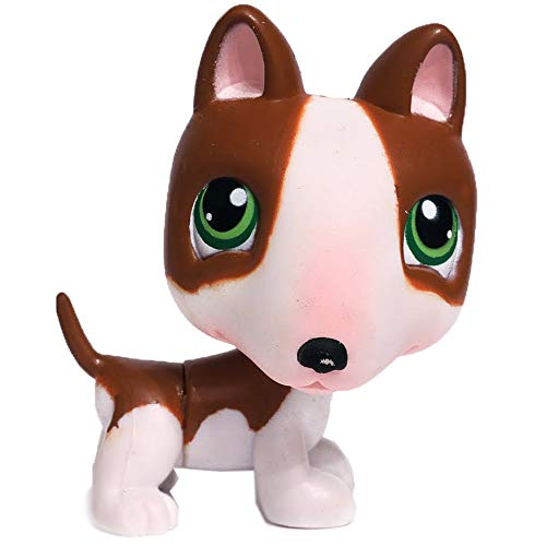 Bull Terrier #154 (White, Brown Accents) - Littlest Pet Shop (Retired) Collector Toy - LPS Collectible Replacement Single Figure - Loose (OOP Out of Package & Print)
