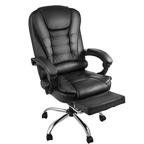 Chrisun Fauteuil De Direction avec Repose-Pieds en Cuir Chaise De Bureau à Dossier Haut Chaise De Bureau Ergonomique Chaise Inclinable à 360 Degrés Chaise Pivotante pour Ordinateur