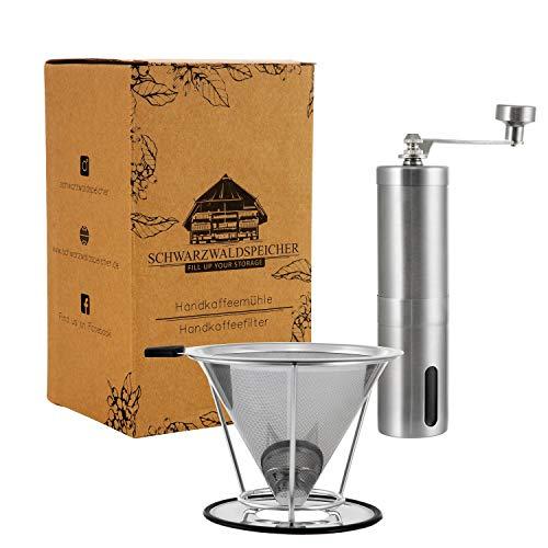Kaffee- Set   Handkaffeemühle mit Keramikmahlwerk   Kaffeefilter Edelstahl   Manuelle Kaffeemühle   Stufenlose Mahlgradeinstellung   Mühle & Filter im Set   Edelstahl Handmühle