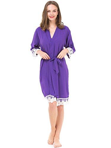 Mr & Mrs Right Damen Kimono aus Baumwolle für Braut und Brautjungfer mit Spitzenbesatz Majestic Violet
