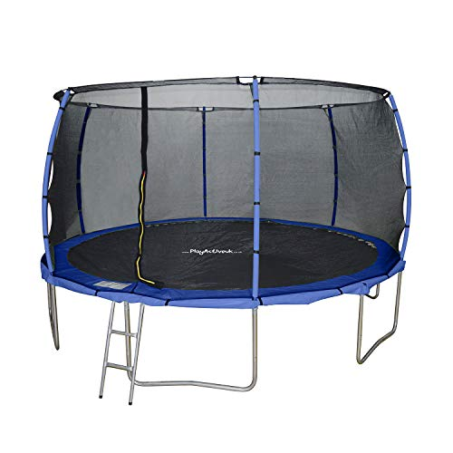 PlayActive 14ft Trampoline With FREE Safety Net Enclosure, Ladder, Rain Cover, Shoe Bag (Blue)