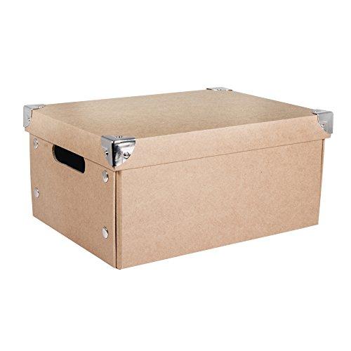 Rayher Hobby 67258000 Aufbewahrungsbox, mit Deckel, Pappmaché, natur, 30 x 22 x 14 cm, mit Metallecken und Haltegriffen, zusammenfaltbar, Ordnungshalter, Schachtel